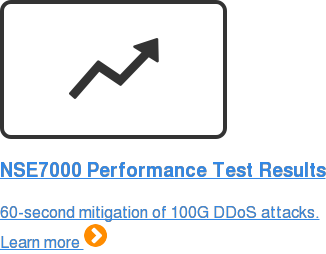 NSE7000 Performance Test Results 60-second mitigation of 100G DDoS attacks. Learn more