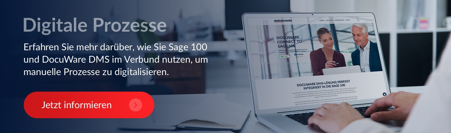 Digitale Prozesse DocuWare Sage 100 Schnittstelle Jetzt informieren Button