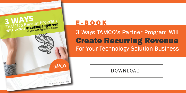 eBook CTA graphic on downloading how to create recurring revenue for technology solution integrators with TAMCO's parntership