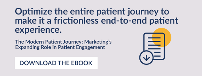 Optimize the entire patient journey to make it a frictionless end-to-end patient experience.  The Modern Patient Journey: Marketing's Expanding Role in Patient Engagement. Download The Ebook.