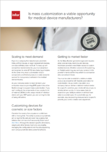 Mass Customization for Medical Device Manufacturers