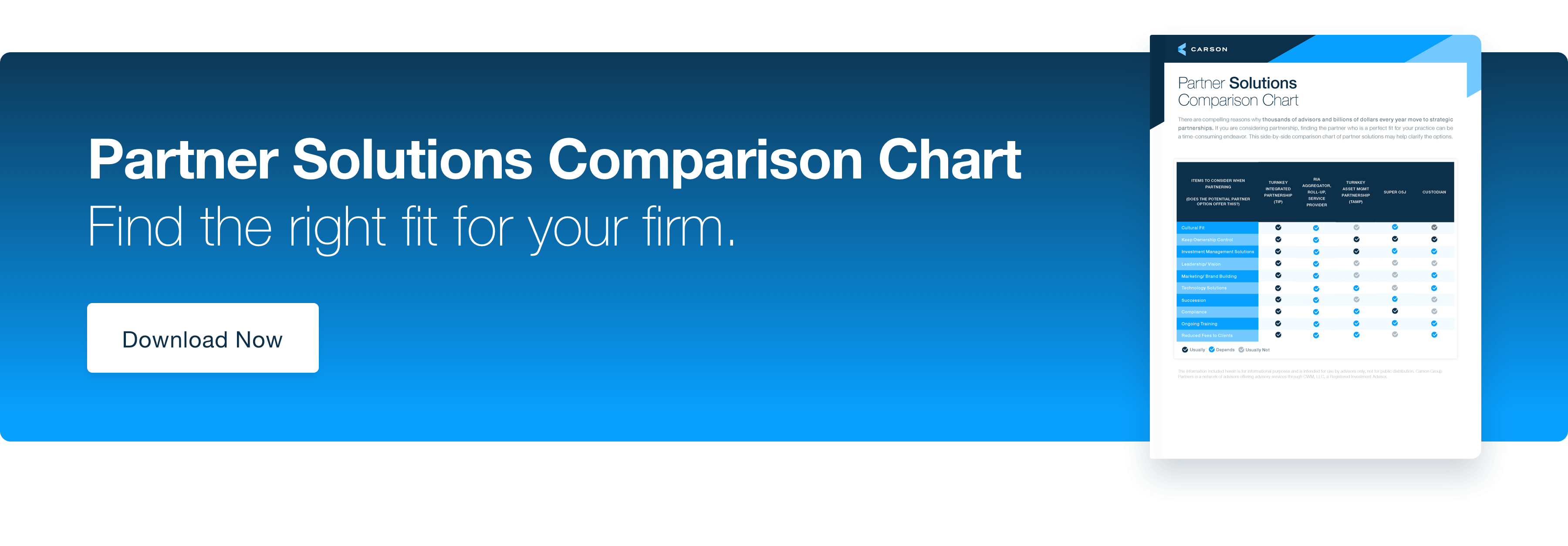 Partner Solutions Comparison Chart. Find the right fit form your firm. Download Now.
