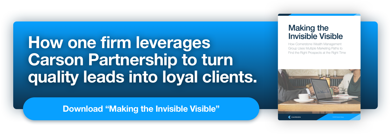 """How one firm leverages Carson Partnership to turn quality leads into loyal clients. Download """"Making the Invisible Visible"""""""