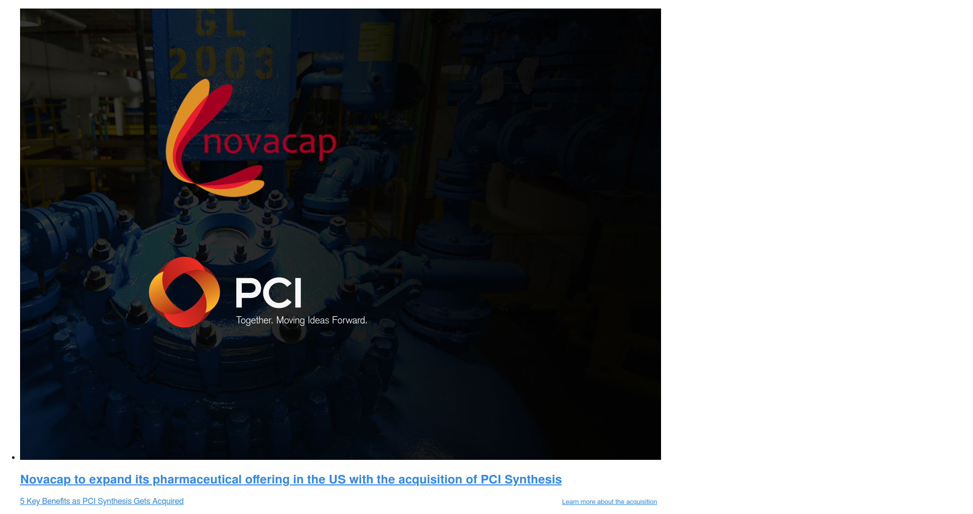 *  Solve all your API and drug substance manufacturing problems with one solution.  From pre-tox to Phase III and beyond, PCI has the equipment and experience to  be with you every step of the way. ..Click here to Accelerate your API manufacturing project <>