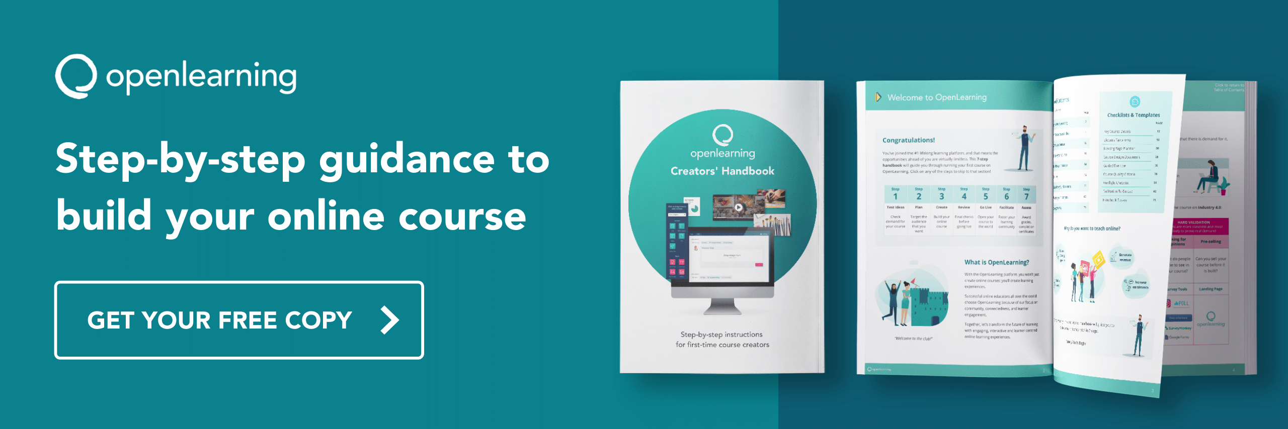 Step-by-step guidance to build your online course. Get your free copy of the OpenLearning Course Creators Handbook.