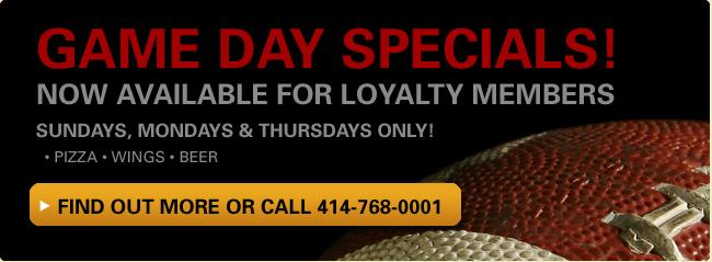 Milwaukee Football Pizza Specials
