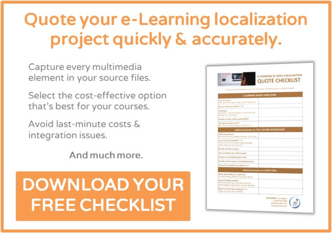 Click to download JBI Studio's e-Learning, Audio & Video Localization Quote Checklist.