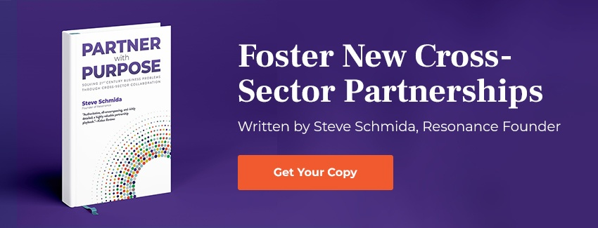 Partner with Purpose written by Steve Schmida on a purple background