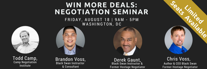 August 18, Washington DC, Negotiation Seminar