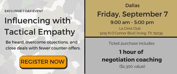 tactical empathy, negotiation seminar