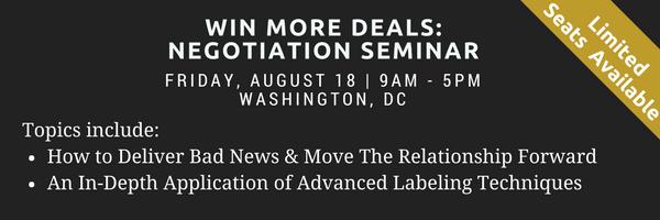 August 18, Washington DC, Negotiation Seminar
