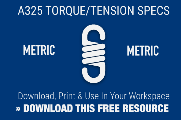 A325 Metric Bolt Torque and Tension Chart