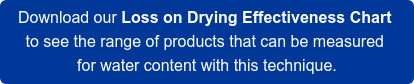 Download our Loss on Drying Effectiveness Chart  to see the range of products that can be measured  for water content with this technique.