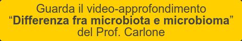 """Guarda il video-approfondimento   """"Differenza fra microbiota e microbioma""""   del Prof. Carlone"""