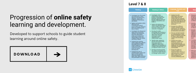 Download the progression of online safety learning and development,