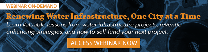 Call to action graphic linking to webinar about renewing water infrastructure
