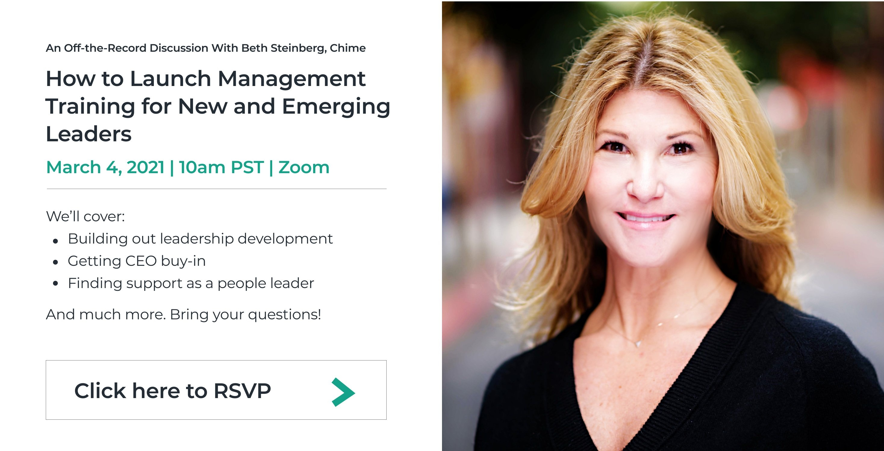 Beth Steinberg, How to Launch Management Training for New and Emerging Leaders, Startup to Scaleup, Click here to RSVP