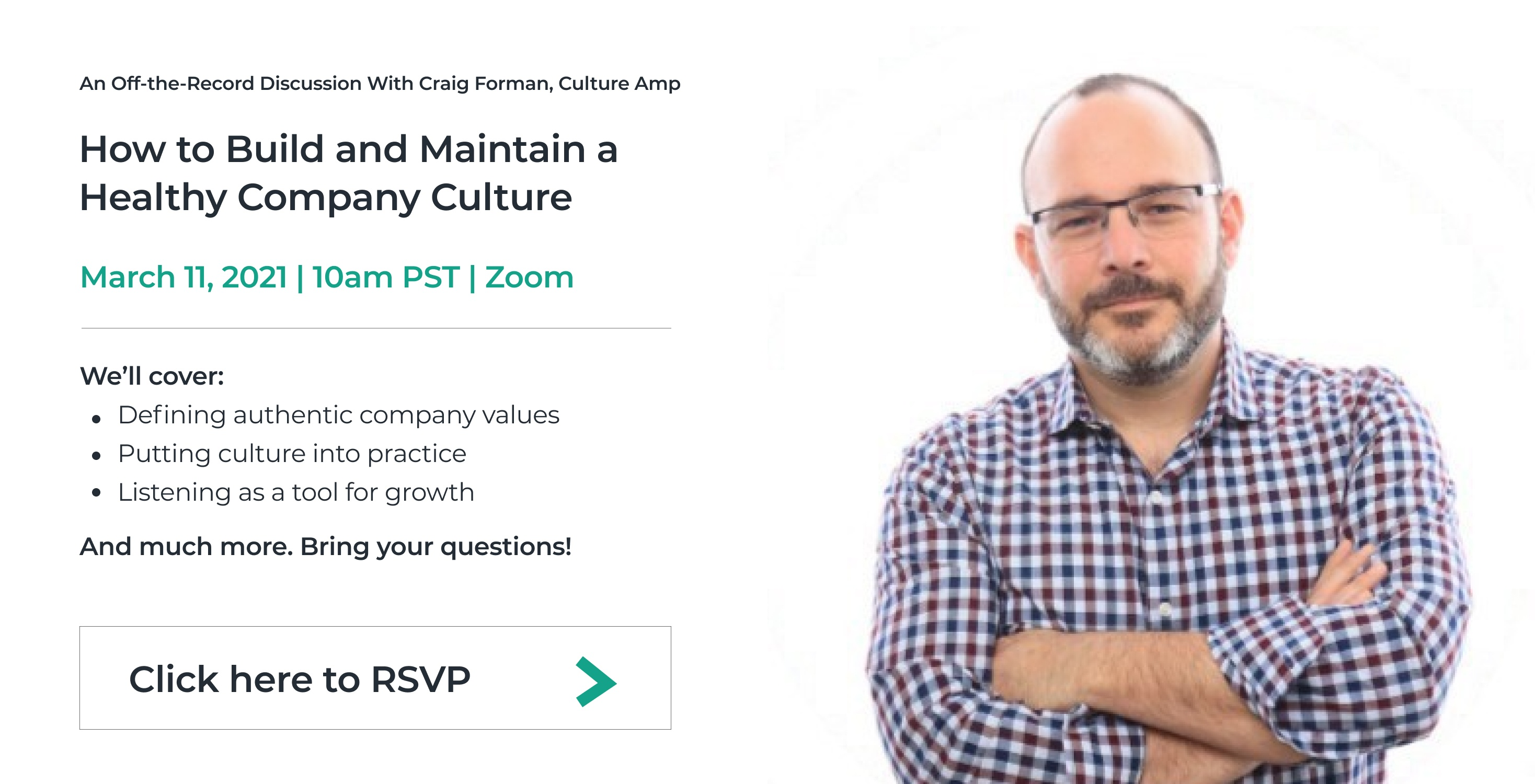 Craig Forman, How to Build and Maintain a Healthy Company Culture, Startup to Scaleup, Click here to RSVP