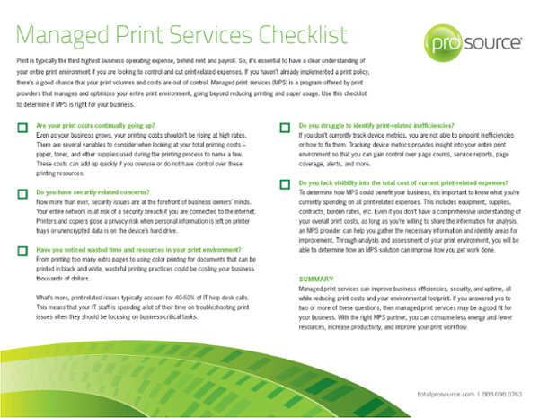 Managed Print Services Checklist