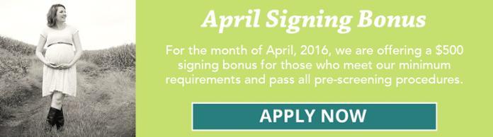 April Signing bonus