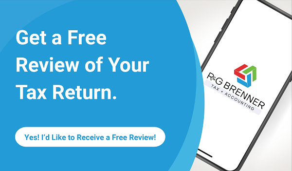 "Text that says, ""Get a free review of your tax return,"" followed by, ""Yes! I'd like a free review!"""