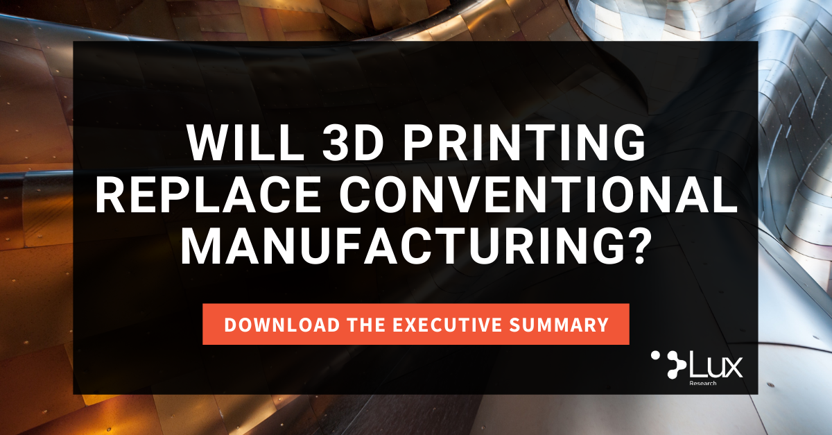 """Download the executive summary of """"Will 3D Printing Replace Conventional Manufacturing?"""""""