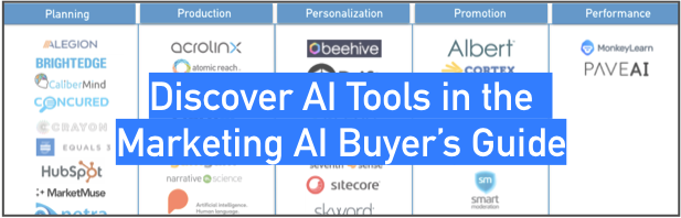 Marketing AI Institute: Find AI tools for marketing in the Marketing AI Buyer's guide: https://guide.marketingaiinstitute.com/