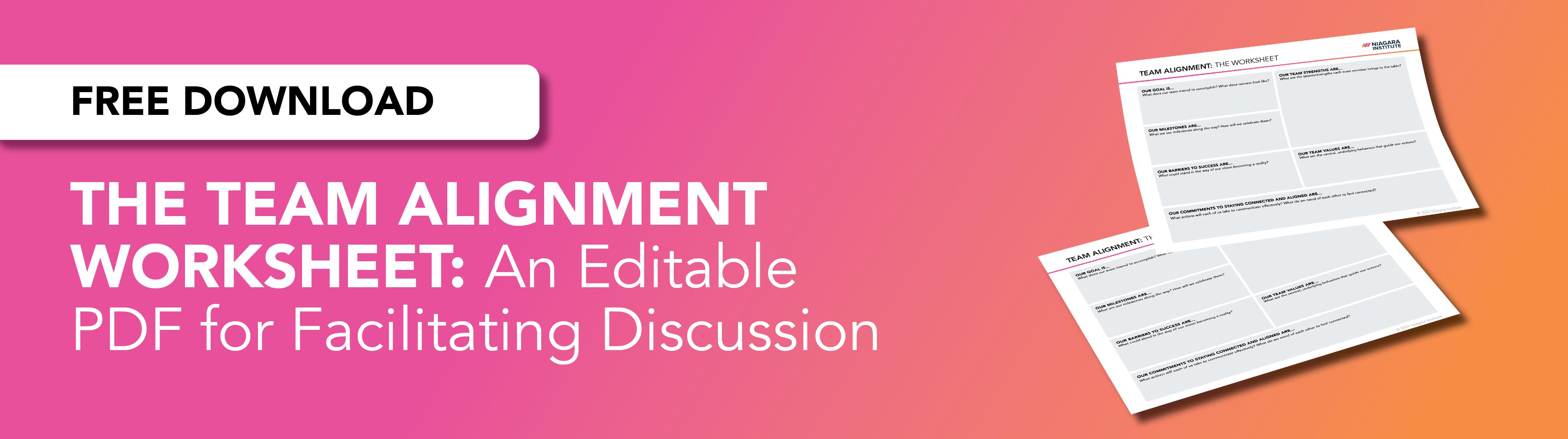 Editable team alignment worksheet