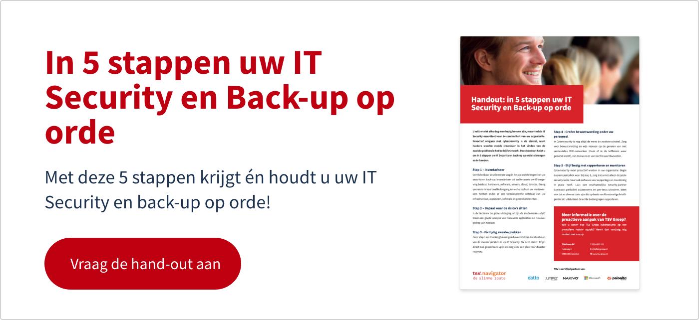 2. CTA in 5 stappen uw IT Security en Back-up op orde