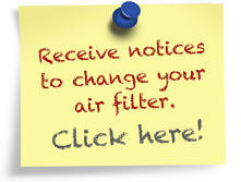 Recieve emailed notices to change your air filter