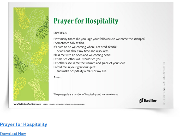 Prayer for Hospitality Download Now