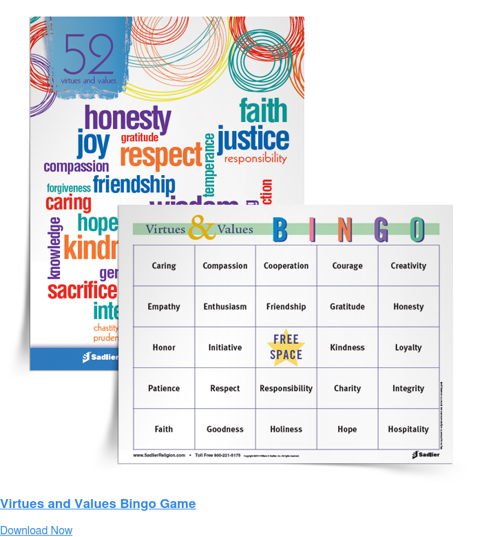Virtues and Values Bingo Game Download Now