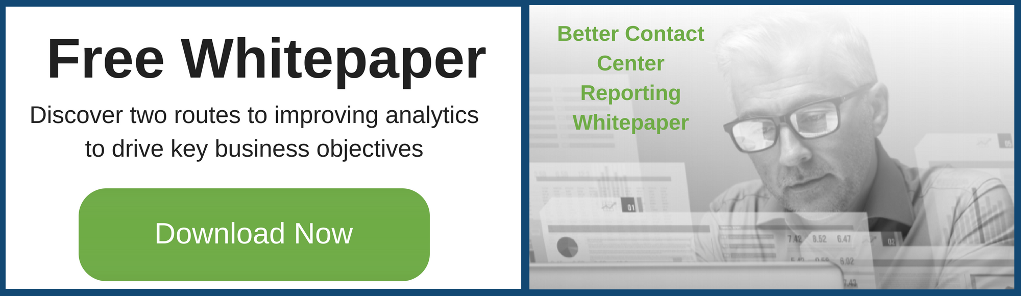Contact Center Reporting Whitepaper offer man looking at laptop